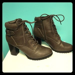Chocolate brown Style & Co lace up booties
